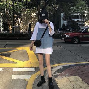 实价 新款夏季纯色宽松T+牛仔吊带背心,女装套装/套裙,Jhh玖火火牛仔