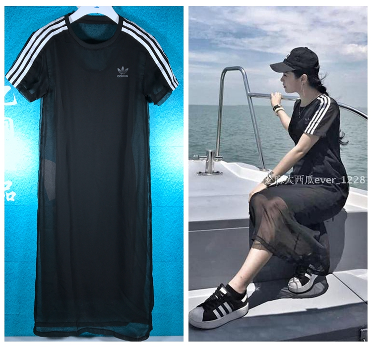 Adidas Adidas Clover Female черный Чистая пряжа короткий рукав спортивный для отдыха Длинная юбка BJ8189