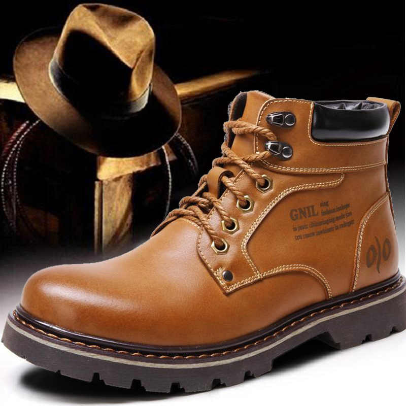英伦马丁靴冬季加绒内增高韩版男靴潮流大黄靴真皮工装靴休闲短靴