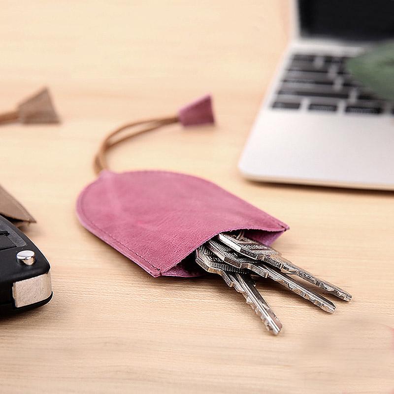 汽车钥匙包女真皮软头层牛皮抽拉男士多功能迷你简约个性小钥匙包