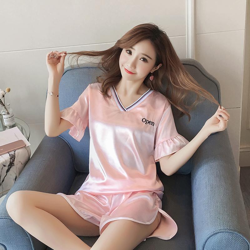 睡衣女夏季韩版短袖薄款冰丝睡衣女青年丝绸短裤套装加大码家居服
