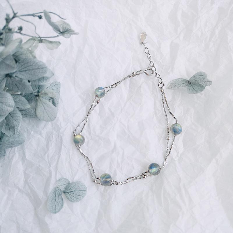 纯银石榴石月光石转运珠双层手链简约森系学生闺蜜韩版女小众设计