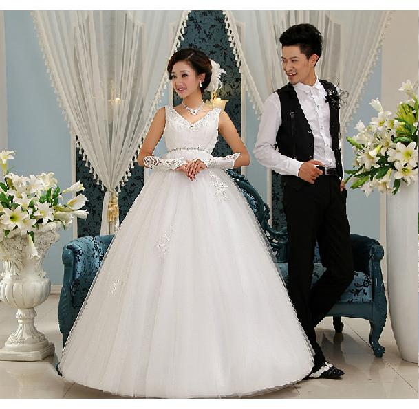 Новое 2013 Весна Корейский Грейс высокой талии ремешок беременных женщин корейской версии простой повязки беременные белый v шеи Свадебные платья