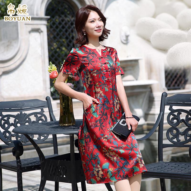 帛媛重磅真丝连衣裙中长款2018夏新款高端品牌杭州桑蚕丝印花修身