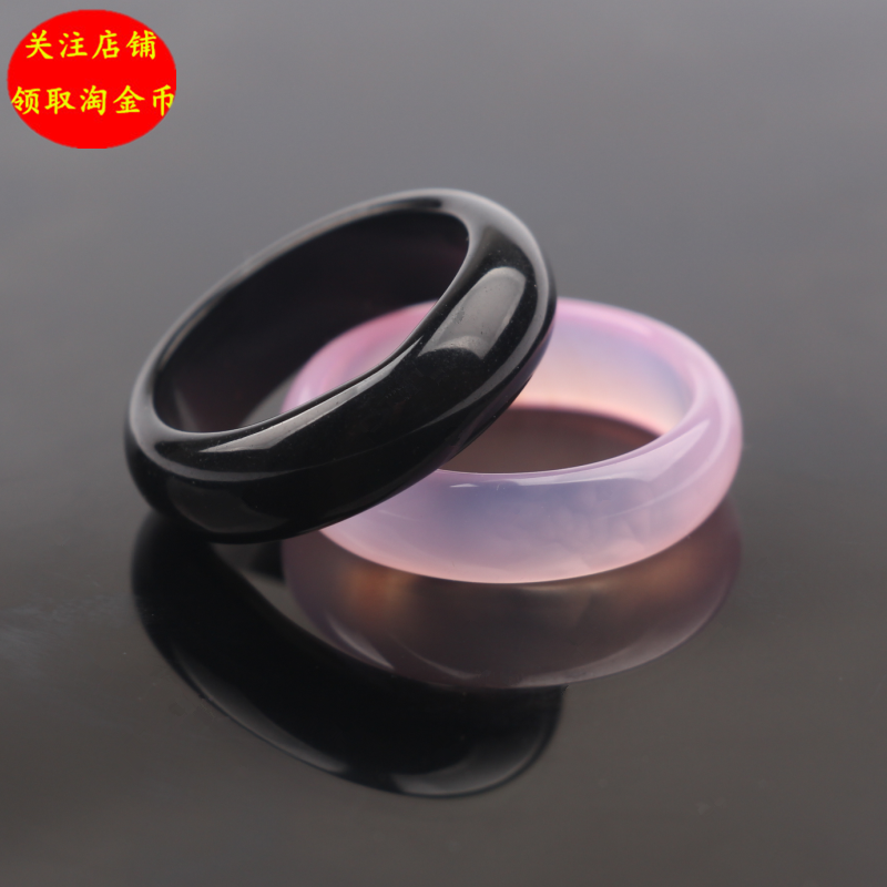 Authentic natural Obsidian ring couple student engraved ring to ward off evil spirits and transport and prevent villain tail ring index finger ring
