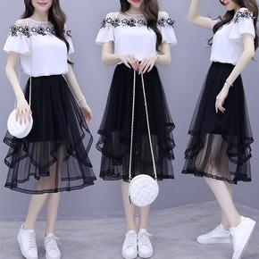 2021夏季新款女装超仙甜美洋气小个子两件套套装流行雪纺连衣裙子