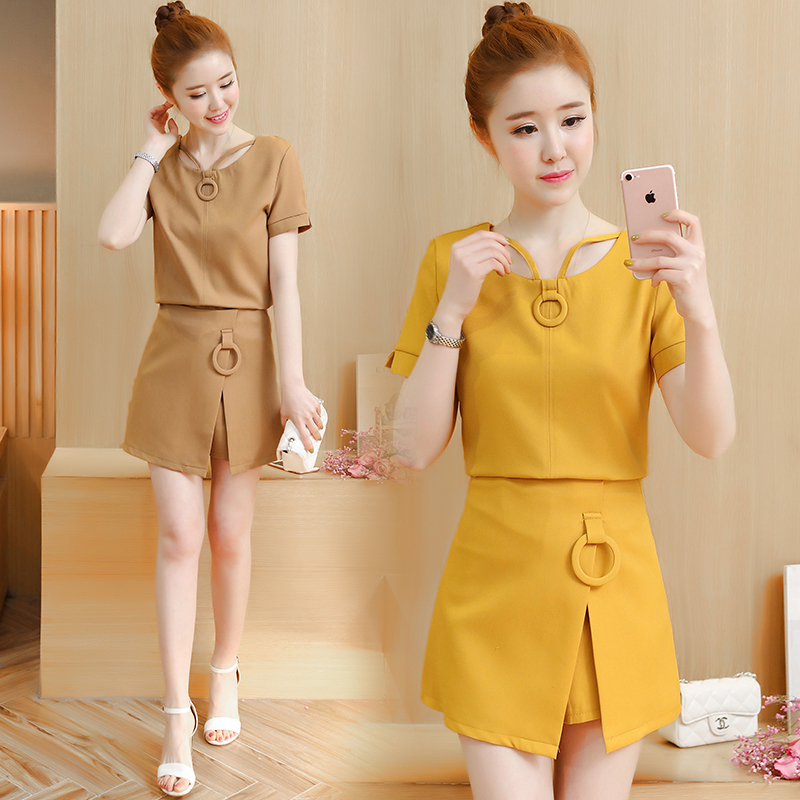 2018夏装新款女装时尚韩版气质套装裙修身显瘦名媛两件套连衣裙女
