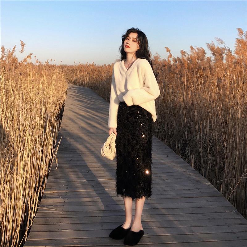 慵懒风套装女秋2018新款宽松套头慵懒风毛衣女+闪亮半身裙两件套