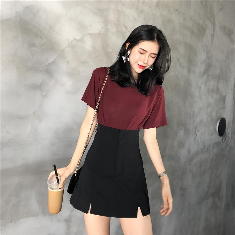 夏季2018新款短袖圆领纯色百搭T+黑色高腰包臀短裙时髦套装分开拍