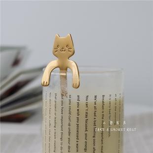 可挂杯沿咖啡勺住在浴缸的猫咪喵星人不锈钢搅拌勺甜品勺挂杯勺