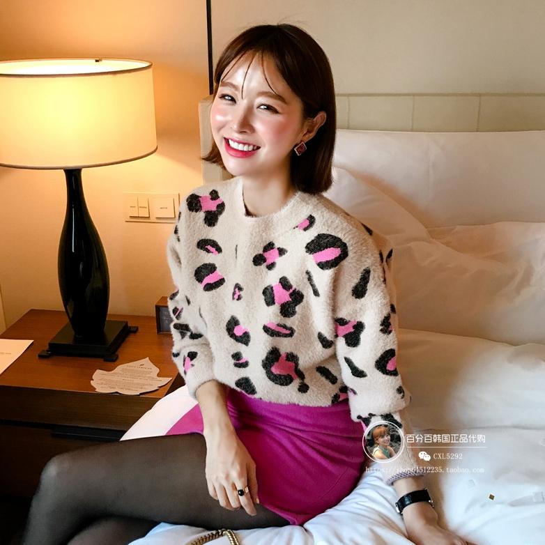 2018秋冬韩版宽松甜美小清新豹纹图案圆领长袖套头针织衫毛衣女