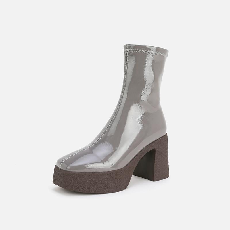 防水台高跟鞋女粗跟短靴2020年秋季新款优雅潮ins单靴真皮时装靴