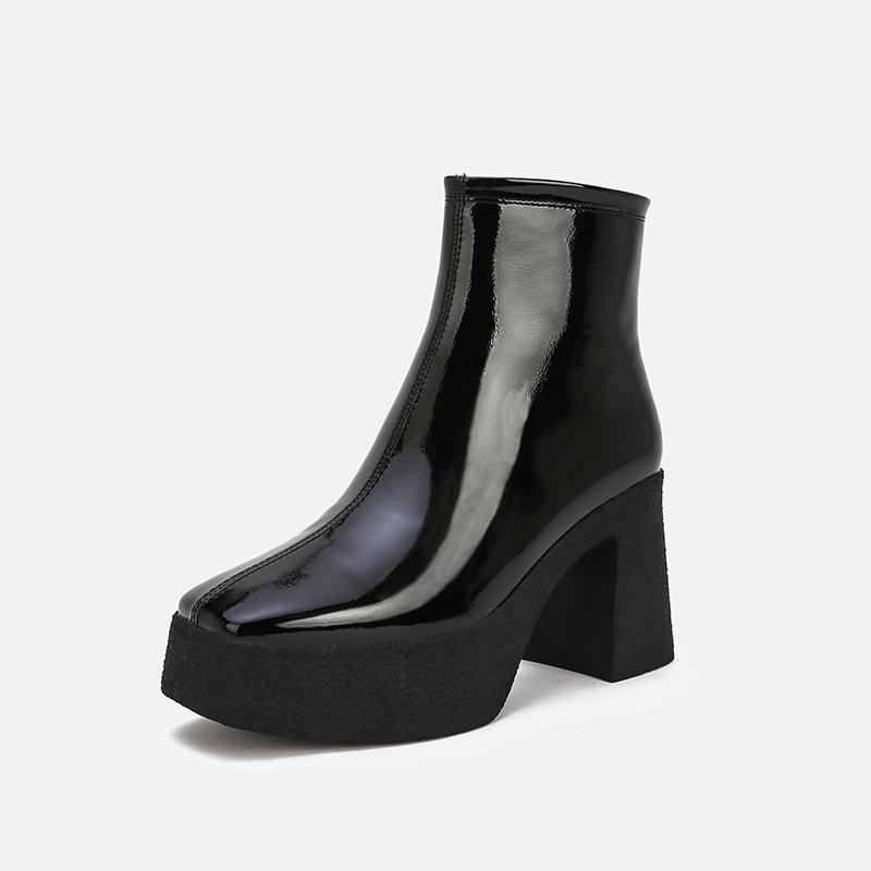 马丁靴女2020秋冬新款高跟系带防水台靴子尖头粗跟英伦短靴欧洲站