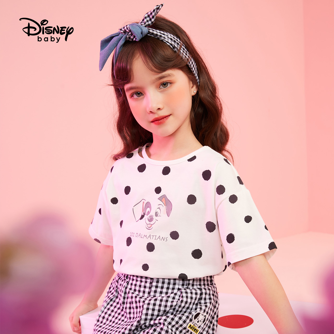 Disney short sleeve T-shirt little girl summer dress girl half sleeve T-shirt spotted dog pattern foreign style 3 pure cotton 4-year-old 5