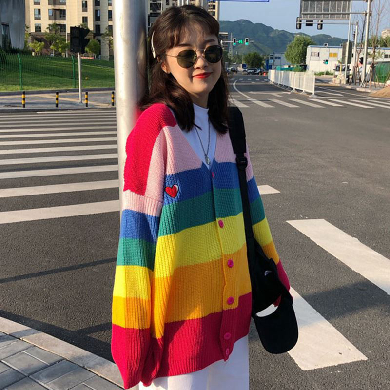 2019 spring and Autumn New Rainbow Stripe V-neck elastic loose knit jacket cardigan womens chic net red sweater