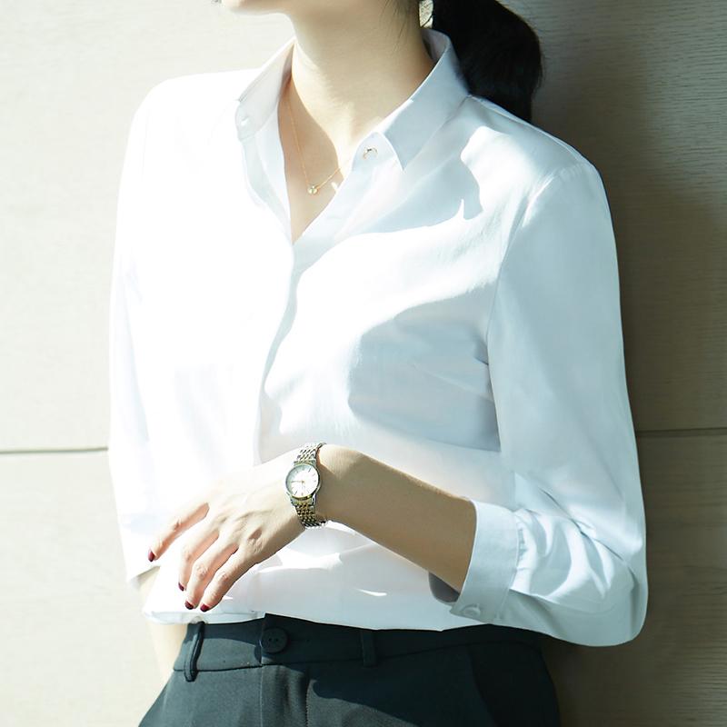 2018夏装新款七分袖衬衫女白色职业装正装韩版可中袖衬衣ol工作服