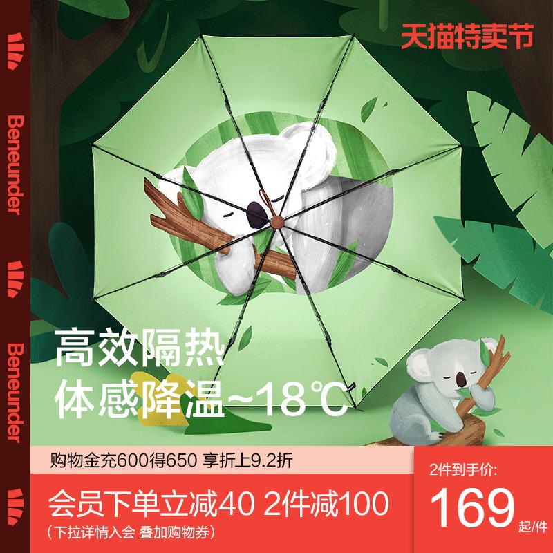 蕉下栖寻太阳伞防晒防紫外线动物遮阳伞女晴雨两用小巧便携三折伞