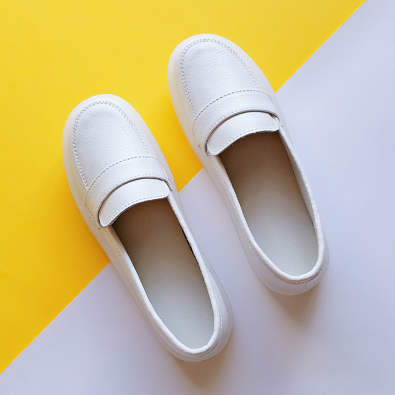 Nurses shoes womens soft soles in autumn and winter, breathable feet, plush warmth, flat soles, comfortable odor proof white hospital cotton shoes