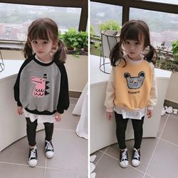 2020春秋新款 女童可爱甜美拼接卫衣 儿童舒适宽松卡通图案上衣