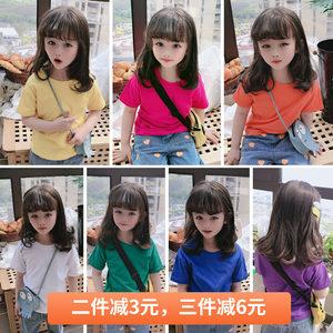 2020夏季新款 中小童简约舒适圆领套头衫 男女童可爱宽松纯色T恤