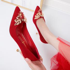 婚鞋女2020新款红色婚纱新娘鞋中式结婚百搭尖头秀禾细跟高跟鞋5