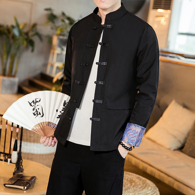 2019 new Chinese Style Mens wear mens jacket retro Chinese style Chinese style Han suit large buckle embroidery coat for men