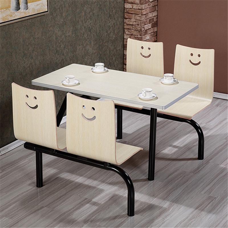 肯德基餐桌椅 员工食堂不锈钢餐桌椅 餐厅小吃店连体快餐桌椅组合