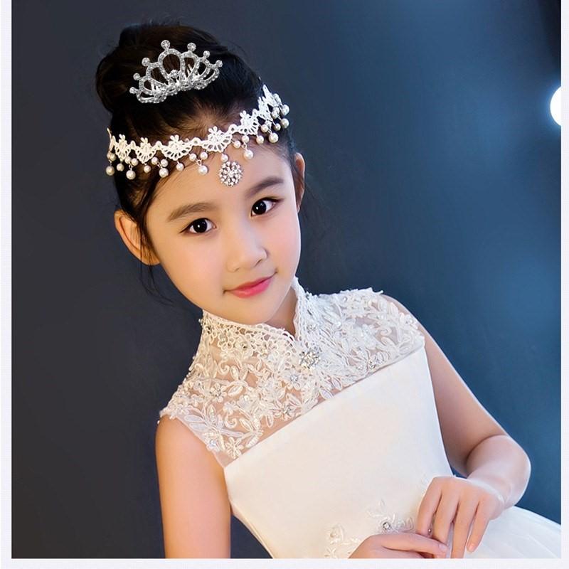 Childrens forehead chain headdress girls Princess chain forehead ornament hairpin forehead chain eyebrow heart drop performance curly hair ornament
