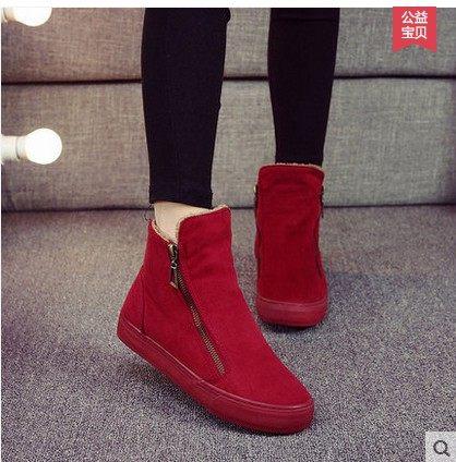 2020冬季新款名将短靴女鞋加绒保暖内增高全黑工鞋侧拉锁棉鞋女靴