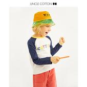 女童竹节棉撞色插肩袖 体恤 秋季 长袖 棉叔叔童装 T恤男童纯棉打底衫