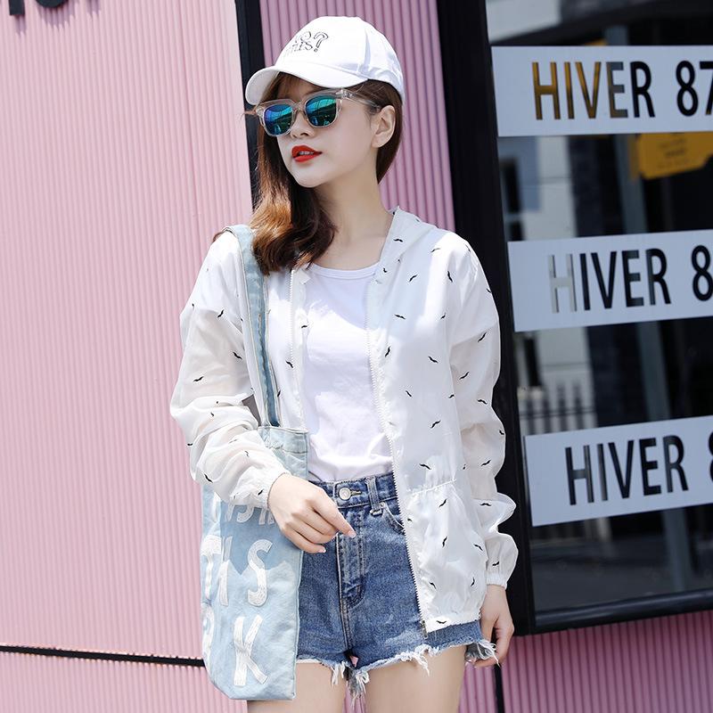 大码防晒衣女胖MM宽松版超薄外套夏季防紫外线长袖连帽防晒风衣服