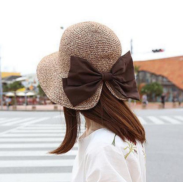 韓國新款大蝴蝶結開叉遮陽帽子女度假夏天太陽帽摺疊草帽防曬遮陽