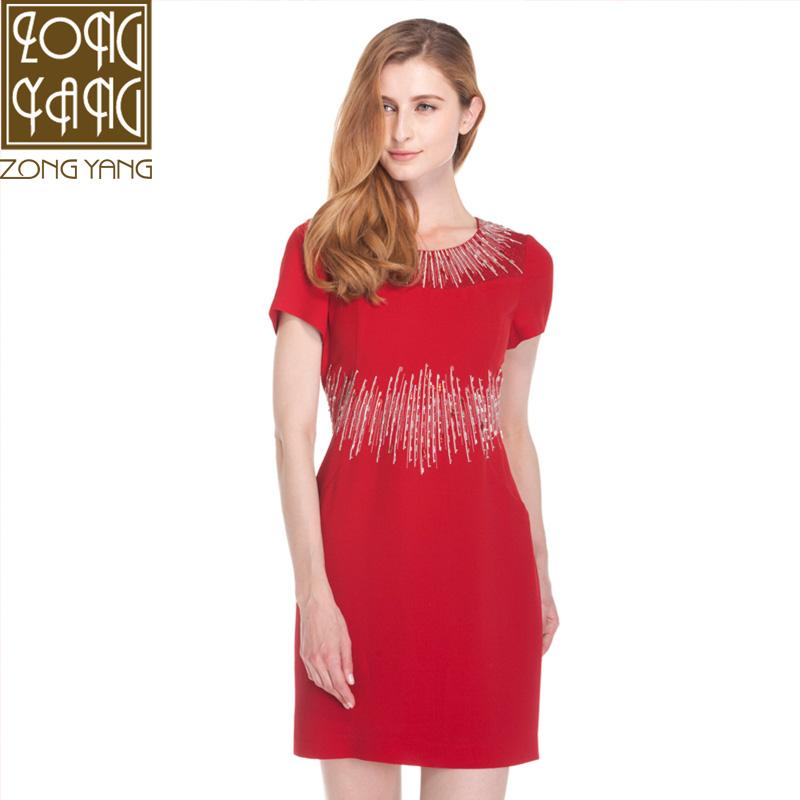 宗洋ZONGYANG专柜女装2016新款夏装酒红 镶钻职业 连衣裙女T2212