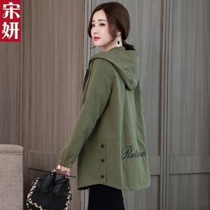 风衣女中长款2021春秋季韩版时尚新款女装休闲上衣军绿色外套大码