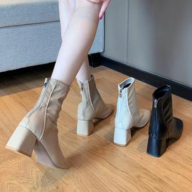 马丁靴女英伦风2020新款夏季韩版百搭方头粗跟网红瘦瘦鞋短靴ins