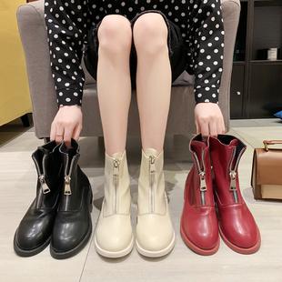 短靴女2019春秋新款靴子女中跟粗跟网红前拉链英伦风马丁靴女单靴图片