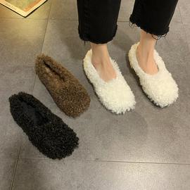 毛毛鞋女冬外穿2020新款韩版百搭时尚浅口女单鞋简约平底豆豆鞋潮