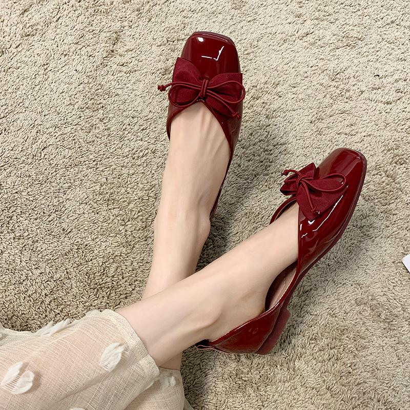 红色单鞋女2021年春季新款晚晚风温柔鞋方头豆豆鞋平底一脚蹬瓢鞋