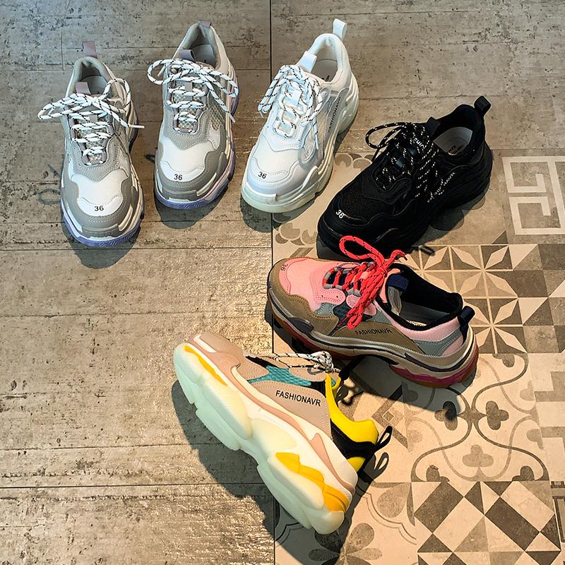 超火炸街老爹鞋ins潮女2020年春季新款网红百搭厚底跑步运动鞋女