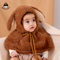 Baby Hat Winter boys and girls out to add velvet windproof shawl newborn baby cloak thickening autumn and winter tide