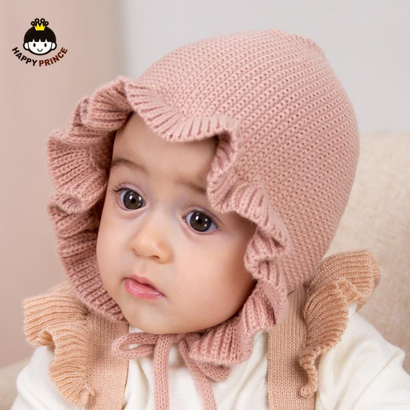 新生婴幼儿男女童荷叶边可爱加厚手工毛线针织帽宝宝帽子秋冬韩版