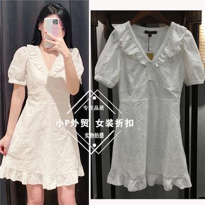 2020新款夏季桔梗法式显瘦V领白色连衣裙女YL09S7AN2003