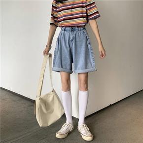 显高牛仔裤女2020夏季新款宽松直筒阔腿裤高腰五分裤短裤显瘦裤子