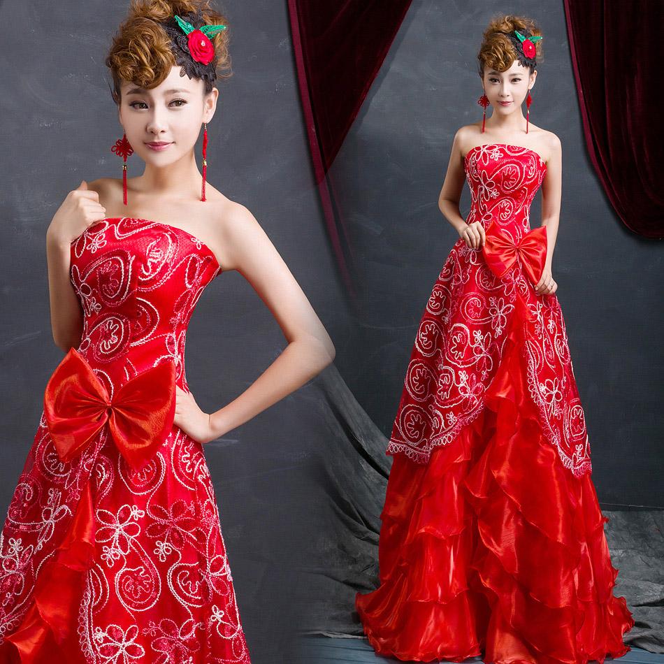 2015 года для новобрачных свадебное длинные красные вечерние платья был тонкий тост платье кружева Лето красное платье