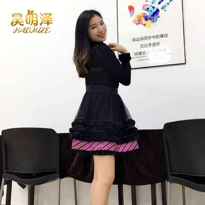 台湾洋装安娜少女心吊带裙2018秋冬新款网纱拼接兔毛连衣裙公主裙