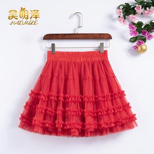 紅色廣場舞短裙褲跳舞網紗仙女裙高腰顯瘦蛋糕裙蓬蓬a字半身裙女