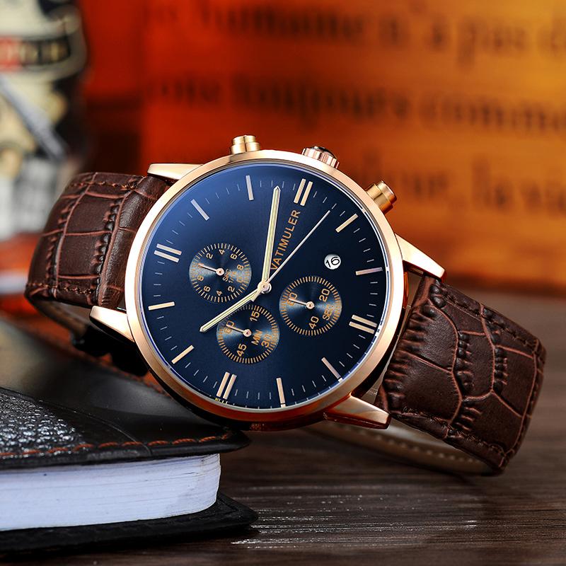 2020新型男性腕時計ベルト防水クオーツビジネスファッションファッション夜光学生多機能腕時計
