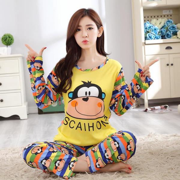 TS48963#长袖牛奶丝睡衣猴子印花彩色条纹长裤两件套家居服套装女