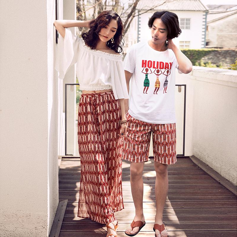 沙滩情侣装夏装2018新款海边度假女裤子套装不一样的情侣款男短袖