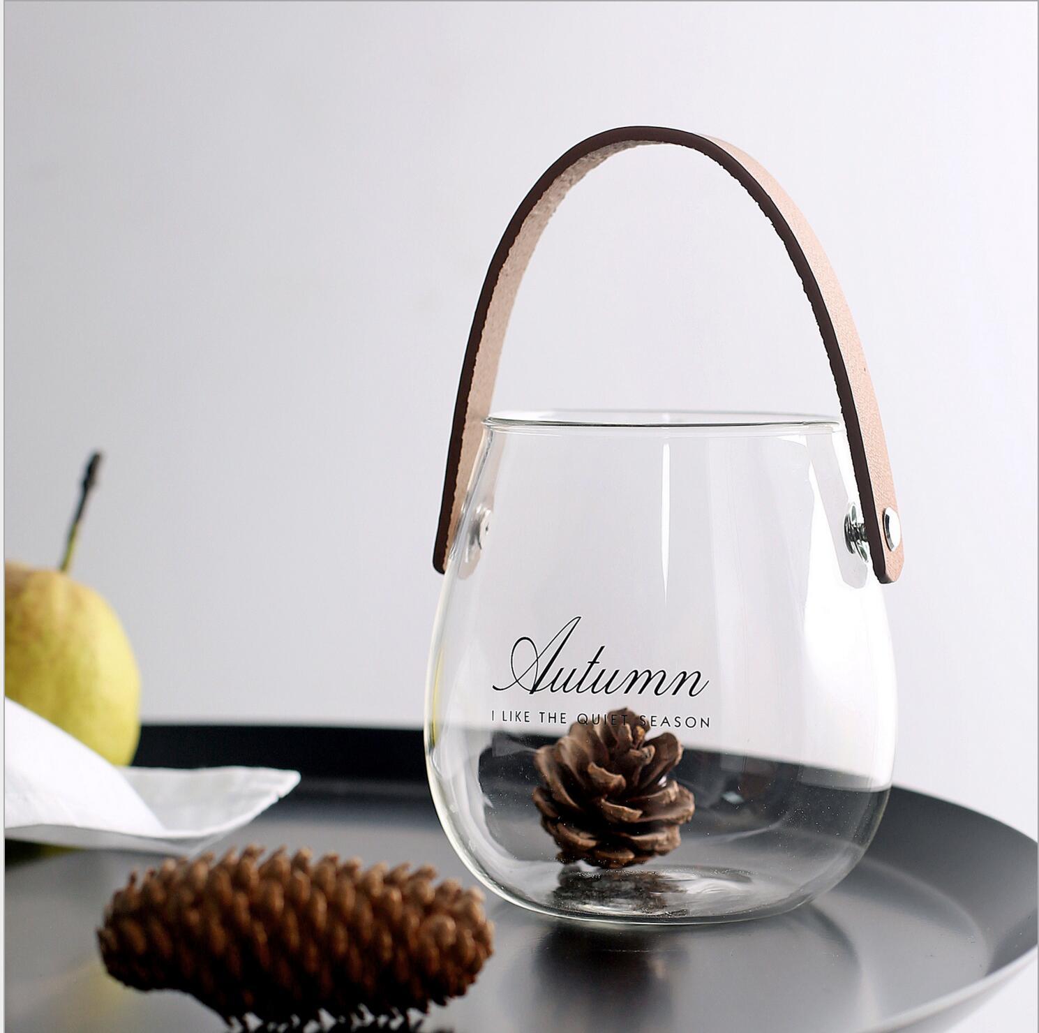 包邮 ins北欧居家玻璃提手水培花瓶插花干花水果收纳小瓶字母罐